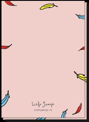 Achterkant geslaagd kaart met daarop veren van de papegaai