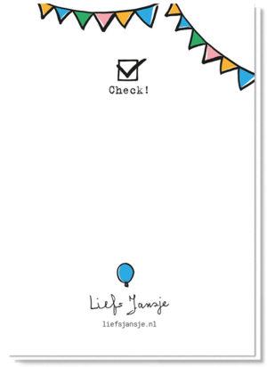 Achterkant quarantaine verjaardagskaart met een afgevinkt check vakje en wat slingers