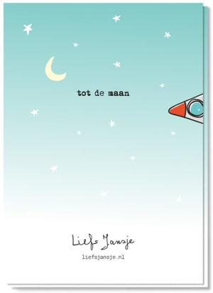 Achterkant liefdeskaart met de rest van de raket erop en de tekst 'tot de maan'