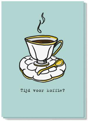 Voorkant koffiekaart met een kopje koffie erop en de tekst 'Tijd voor koffie?'