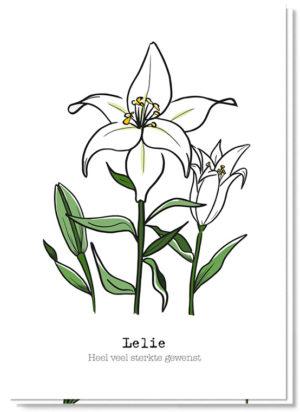 Voorkant bloemenkaart met daarop een lelie en de tekst 'Heel veel sterkte gewenst'