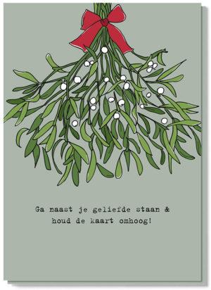 Lieve kerstwens met een mistletoe kerstkaart. Houdt de mistletoe kaart boven je hoofd en kus degene die naast je staat