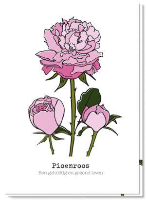Voorkant bloemenkaart met daarop 3 pioenrozen en de betekenis 'een gelukkig en gezond leven'