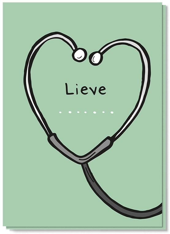 Wenskaart met daarop een stethoscoop in vorm van een hart met daarin geschreven Lieve......,om het zorgpersoneel te bedanken