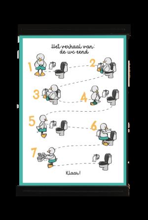 A4 poster van een eend die stap voor stap laat zien hoe je naar het toilet moet gaan. Zo kunnen peuters makkelijker zindelijk worden.