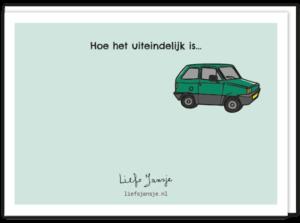 Achterkant rijbewijskaart met oude auto en de tekst 'hoe het eigenlijk is..'