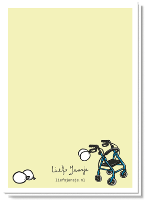 Achterkant verjaardagskaart met een mini rollator en wat witte ballonen