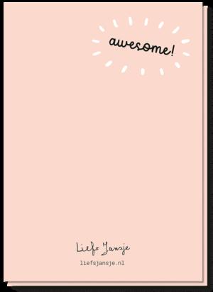 Achterkant geslaagd kaart met daarop de tekst 'Awesome'