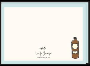 Achterkant wenskaart overgrootopa met daarop een drank fles