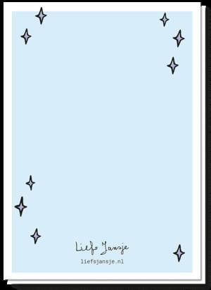 "Achterkant verjaardagskaart ""Fijne verjaardag"". Blanco blauwe achtergrond met wat sterretjes"