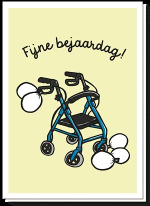 Voorkant verjaardagskaart met daarop een rollator waar witte ballonen aanhangen en de tekst 'Fijne bejaardag'