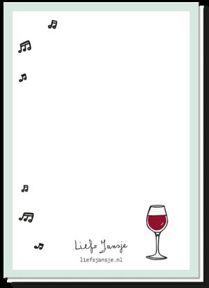 Achterkant van Rudolf kerstkaart met daarop een glaasje rode wijn en wat muzieknootjes.