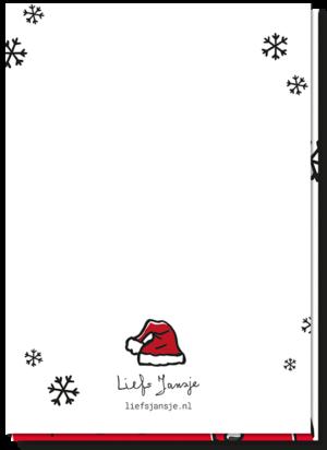 Achterkant kerstkaart Santa met daarop een klein kerstmutsje boven het logo van Liefs Jansje