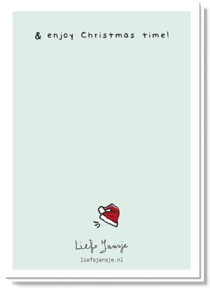 Achterkant van de Zendeer kerstkaart met daarop een klein kerstmutsje en de tekst ' Enjoy Christmas time!'