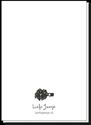 Achterkant trouwkaart beautiful couple. Blanco met een bruidsboeketje boven het logo van Liefs Jansje