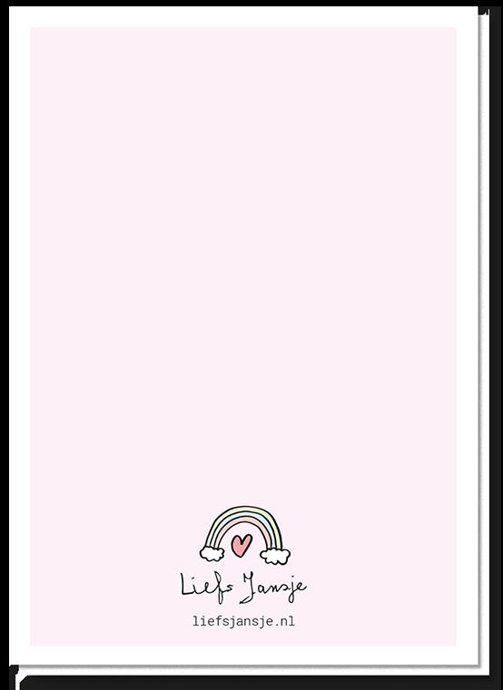 Achterkant gay lesbische bruiloft kaart met een klein regenboogje en een hartje boven het logo van Liefs Jansje
