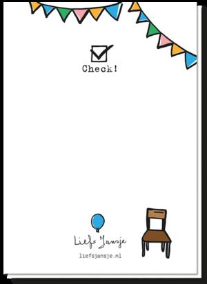 Achterkant quarantaine party kaart met daarop 1 stoeltje en een aangevinkt vakje met 'check' eronder