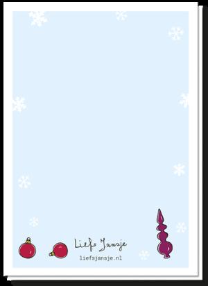 Achterkant kerstkaart 'Merry Fucking Christmas' met alleen wat kleine afbeeldingen van 2 kerstballen en een piek langs het logo van Liefs Jansje