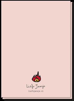 Achterkant wenskaart hot met daarop een vlammetje en verder blanco