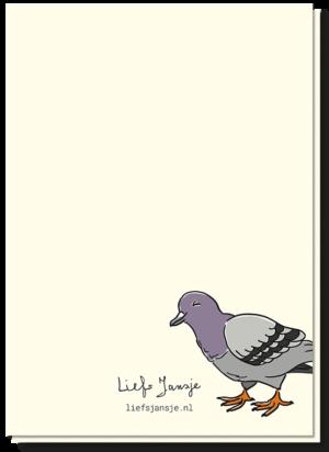 Achterkant good luck kaart met daarop een duif