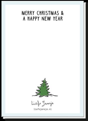 Achterkant van de kerstkaart 'Hang you', met daarop de tekst 'Merry Christmas & a happy new year'. Klein blij kerstboompje boven logo Liefs Jansje
