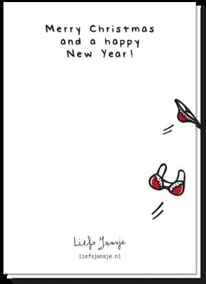 Achterkant kerstkaart ho met een wegvliegend lingerie setje met de tekst 'Merry Christmas and a happy new year!'