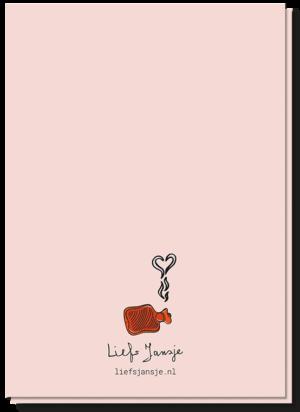 Achterkant kaart met een klein kruikje waar een stoom wolkje in de vorm van een hartje uitkomt