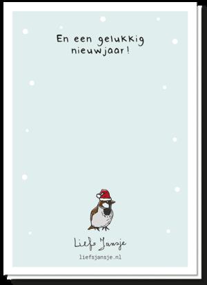 Achterkant van de fijne kerst-mus kaart. Er staat een kleine afbeelding op van een mus met kerstmus en de tekst 'en een gelukkig nieuwjaar'.