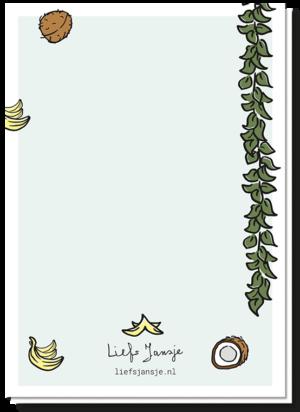 Achterkant geboortekaart met een liaan, wat banaantjes en kokosnoten als versiering