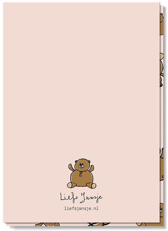 Achterkant wenskaart met een teddybeertje boven het logo van Liefs Jansje