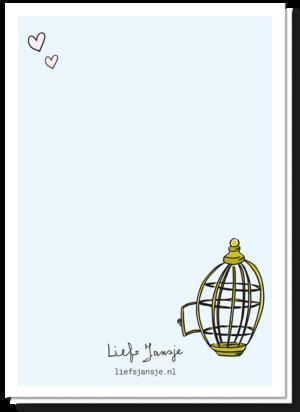 Achterkant tortelduifjes kaart met daarop een openstaand vogelkooitje en twee hartjes