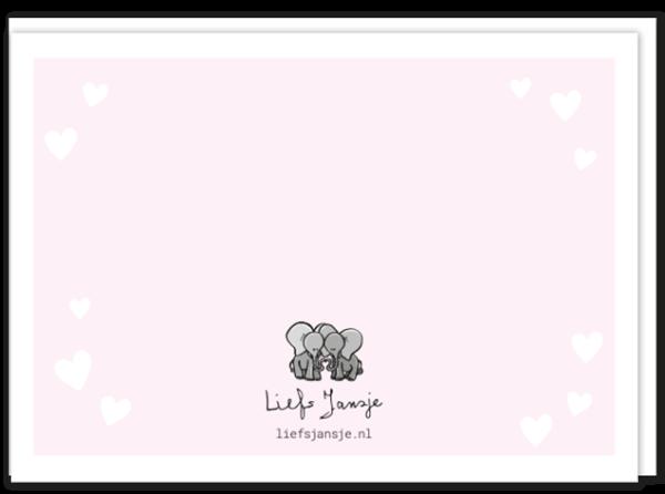 Achterkant liefdeskaart memories met daarop een kleine afbeelding van twee olifantjes