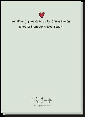Achterkant van de mistletoe kerstkaart met daarop een klein rood hartje en de tekst 'Wishing you a lovely Christmas and a happy new year!'