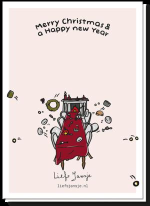 Achterkant van diner kerstkaart met een tafel waarvan alles wordt weggegooid als een groot voedsel gevecht. Met de tekst 'Merry Christmas & a happy new year'