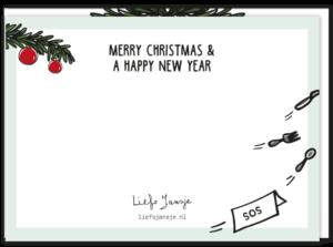 Achterkant van de kerstkaart met de tekst 'Merry Christmas & a happy new year'!