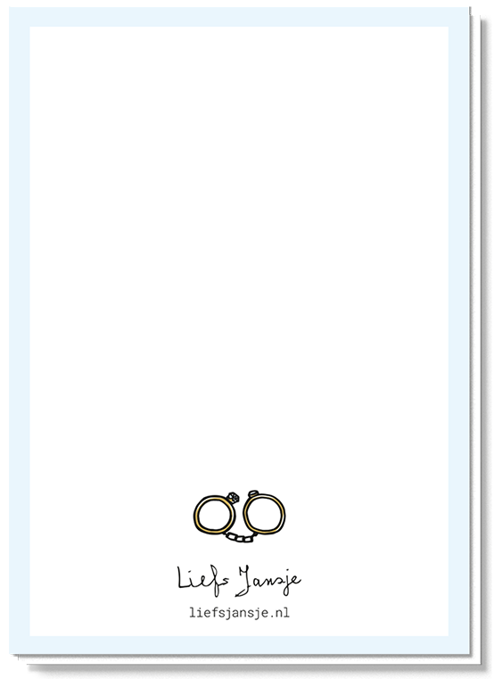 Achterkant trouwkaart met de twee trouwringen als handboeien in het klein boven het logo van Liefs Jansje