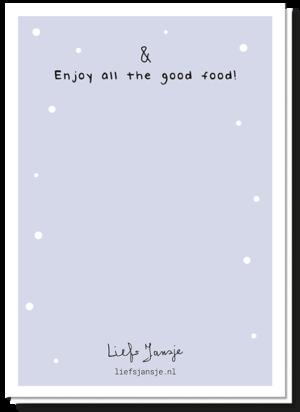 Achterkant van Vredesduif kerstkaart met daarop de tekst 'Enjoy all the good food!'