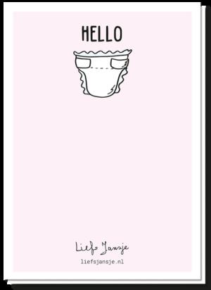 Achterkant pregnant kaart met daarop de tekst 'Hello..' en daaronder een luier
