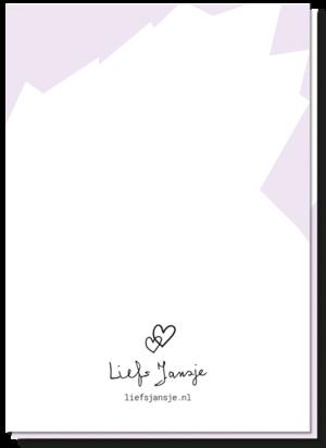 Achterkant gay kaart scharen Engels. Met 2 kleine hartjes boven het logo van Liefs Jansje