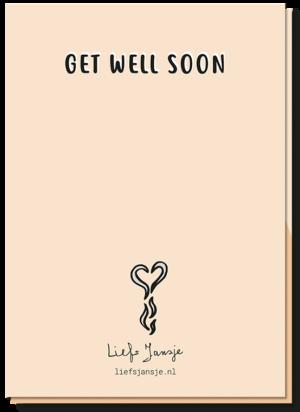 Achterkant beterschapskaart met de tekst 'Get well soon'