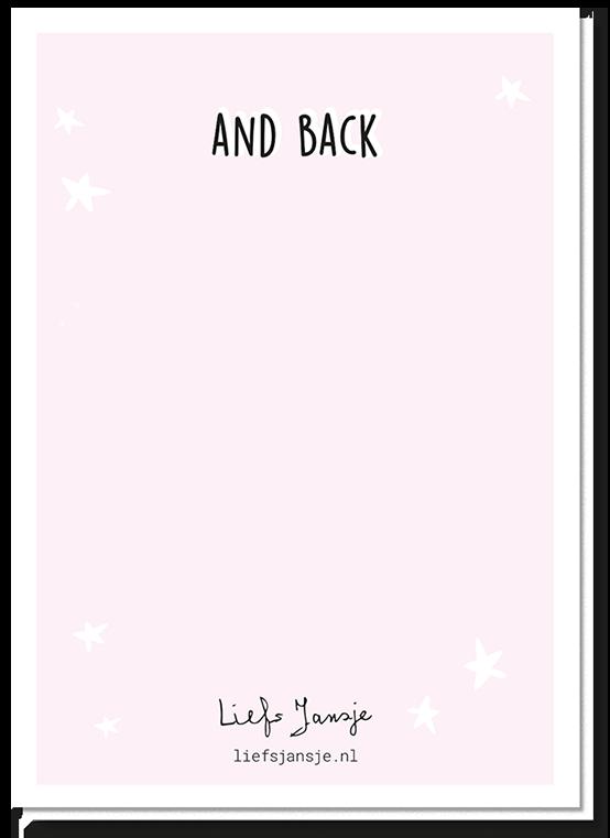 Achterkant wenskaart raket met daarop de tekst 'And Back'