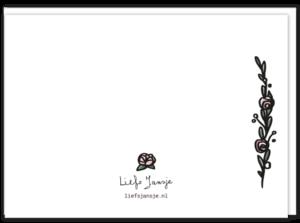 Achterkant gay kaart blanco met 2 bloempjes