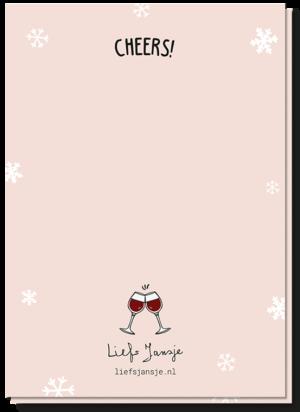 Achterkant van de wijn kerstkaart met daarop 2 kleine klinkende rode wijn glazen boven het Liefs Jansje logo en de tekst ' Cheers!'
