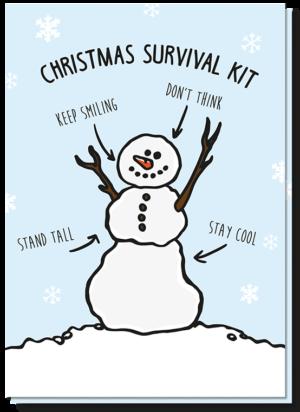 Met humor kerstwensen sturen doe je met deze sneeuwpop kerstkaart waarbij staat geschreven hoe je net als een sneeuwpop de kerst kan doorkomen