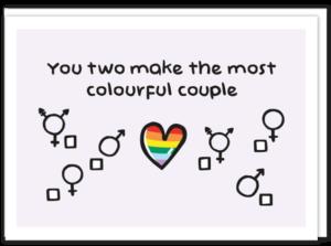 Voorkant LGBTQ kaart met daarop een regenboog hartje in het midden en zowel rechts als links daarvan 3 mogelijk heden om aan te kruisen, zoals het symbool voor vrouw, maar ook voor transgender. En de tekst 'You two make the most colourful couple'