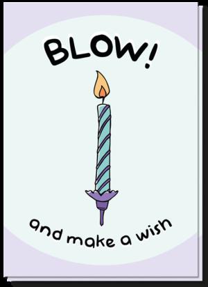 Voorkant verjaardagskaart met een vrolijk paars/groen kaarsje en de tekst 'Blow! and make a wish'