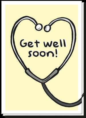 """Beterschapskaart """"get well soon"""" met een stethoscoop erop die een hartje vormt met daarin de tekst 'Get well soon!'"""