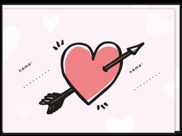 """Voorkant """"voor altijd"""" liefdeskaart met daarop een groot hart met pijl erdoor en twee invul mogelijkheden voor namen"""