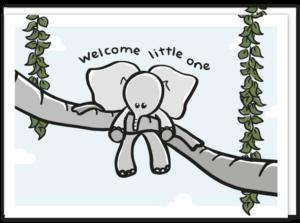 Geboortekaartje met daarop twee slurven die een baby olifantje omhoog houden met de tekst 'Welcome little one'
