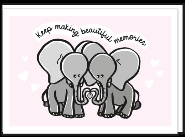"""Voorkant """"beautiful memories"""" liefdeskaart met daarop een illustratie van twee olifantjes die met hun slurf een hartje vormen en de tekst 'Keep making beautiful memories'"""